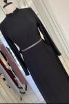 Zuhal Sagsöz Çapraz Pliseli Elbise Siyah