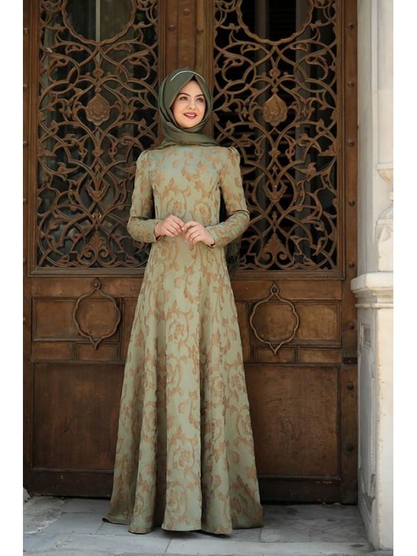 8270aba180487 Pınar Şems Azra Haki Elbise | Pınar Şems Elbise Modelleri