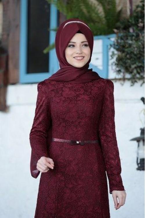 Al Marah Işıltı Elbise Bordo