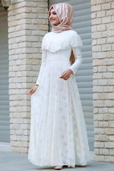Gamze Özkul Vintage Dantel Elbise Ekru