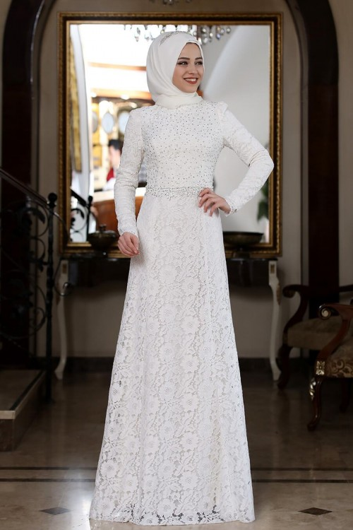 Al Marah Beyza Elbise Beyaz