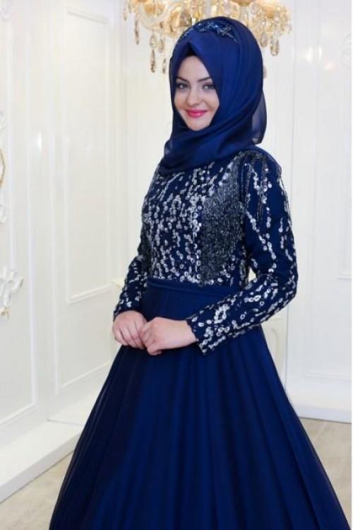 Pınar Şems Boncuk Abiye İndigo