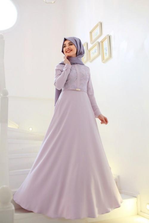 Gamze Özkul Deri Detaylı Elbise Lila