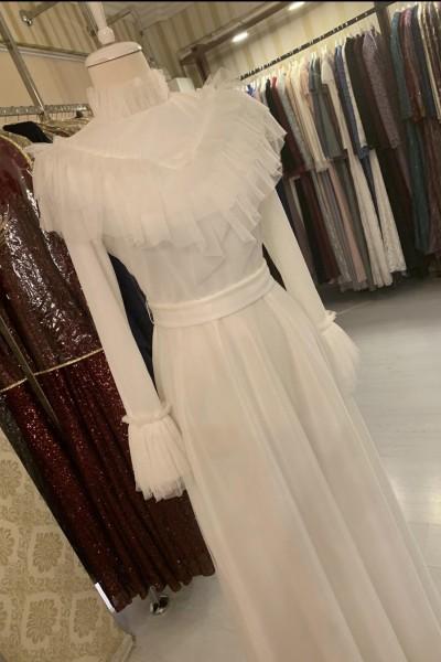 Zuhal Sagsöz Fırfırlı Elbise Beyaz