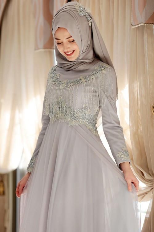 Gamze Özkul Elsa Abiye Gri