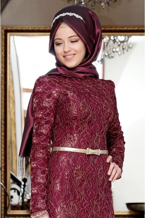 Al Marah Öykü Dantel Elbise Fuşya