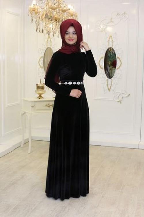 Pınar Şems Kadife Elbise Siyah