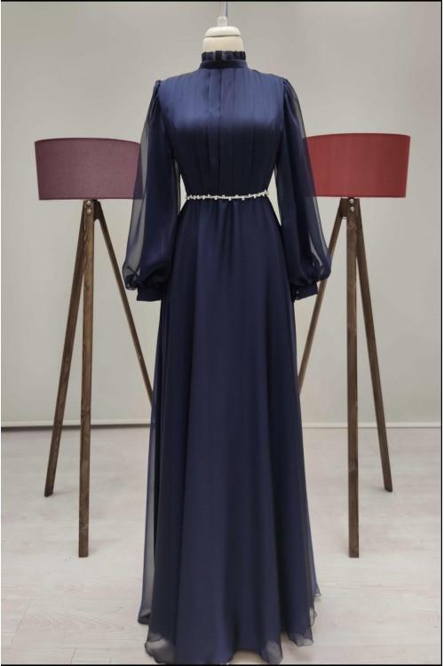 Zuhal Sagsöz İnci Kemerli Elbise Lacivert