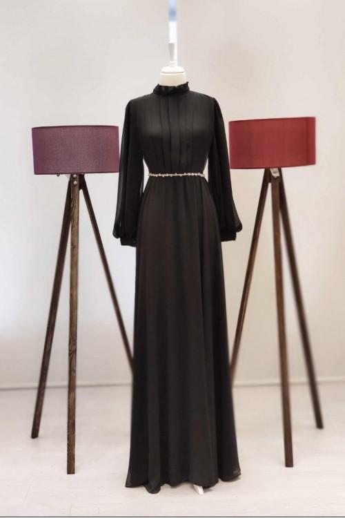 Zuhal Sagsöz İnci Kemerli Elbise Siyah