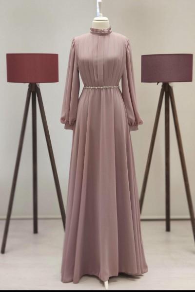 Zuhal Sagsöz İnci Kemerli Elbise Somon