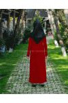 Rabia Şamlı Ponpon Triko Elbise Kırmızı