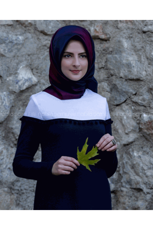 Rabia Şamlı Ponpon Triko Elbise Lacivert