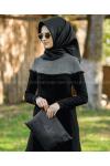 Rabia Şamlı Ponpon Triko  Elbise Siyah