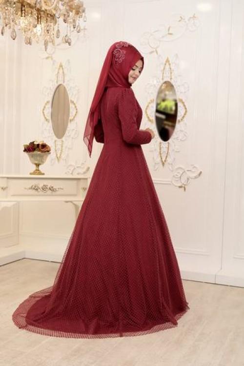Pınar Şems Şeyma Abiye Bordo