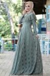 Gamze Özkul Vintage Elbise cagla Yeşil